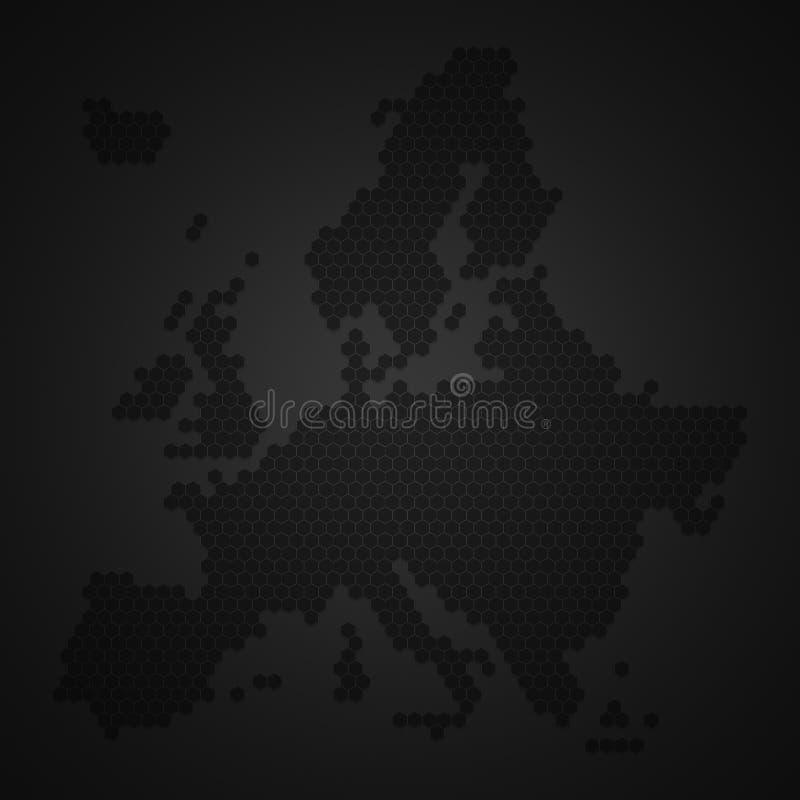 Карта континента Европы со стилем формы крапивницы пчелы или сота или меда меда с тенью границы виньетки темной Черно-белый к иллюстрация вектора