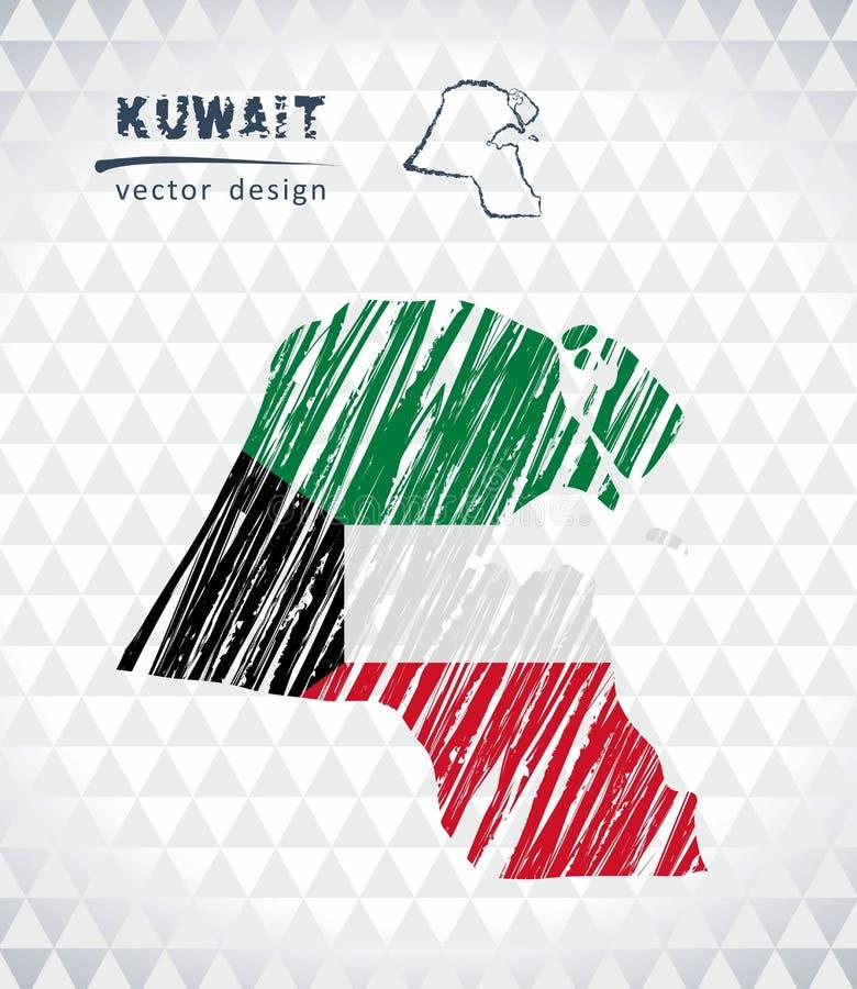Карта Кувейта с нарисованной рукой картой ручки эскиза внутрь также вектор иллюстрации притяжки corel иллюстрация вектора