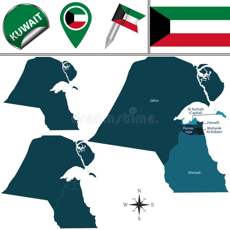 карта Кувейта иллюстрация штока