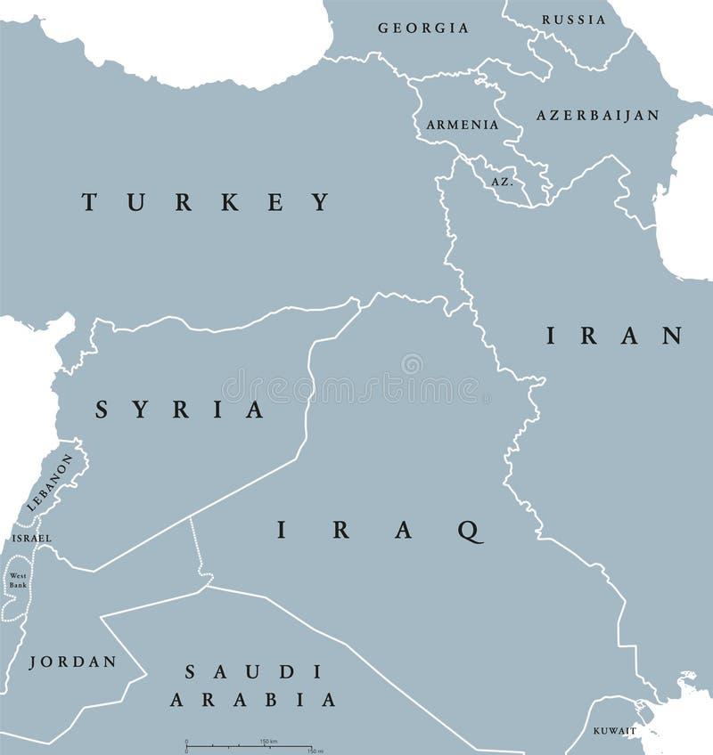 Карта курдских стран политическая иллюстрация вектора