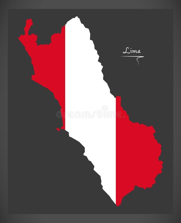 Карта Лимы с перуанской иллюстрацией национального флага иллюстрация штока