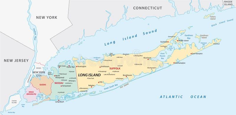 Карта Лонг-Айленд иллюстрация вектора