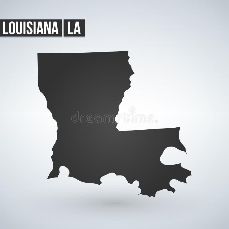 Карта Луизиана вектора Изолированная иллюстрация вектора Черным по белому предпосылка Иллюстрация EPS 8 бесплатная иллюстрация