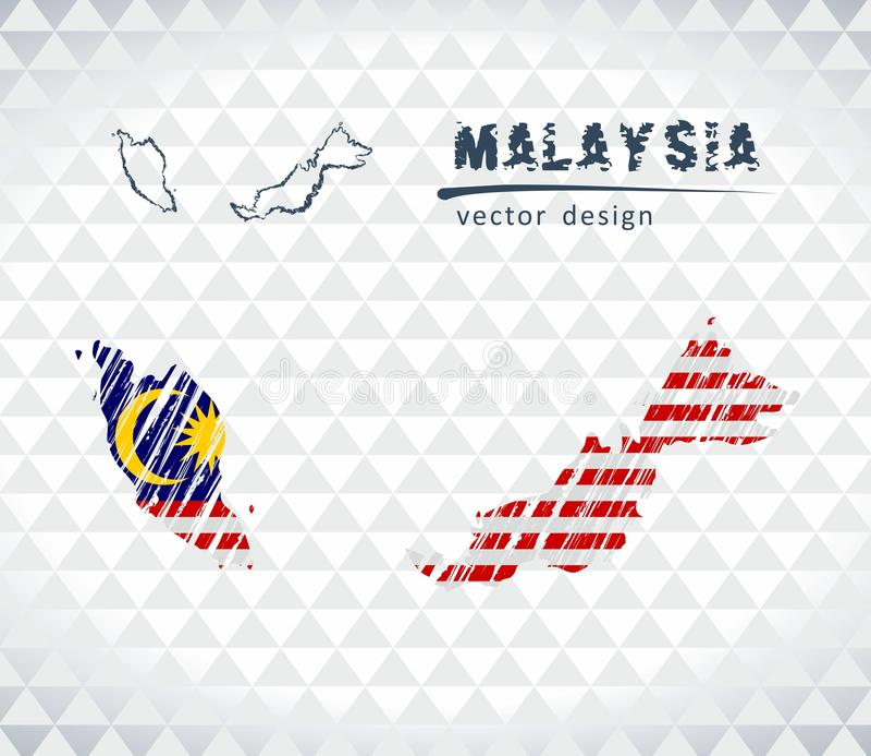 Карта Малайзии с нарисованной рукой картой ручки эскиза внутрь также вектор иллюстрации притяжки corel иллюстрация вектора