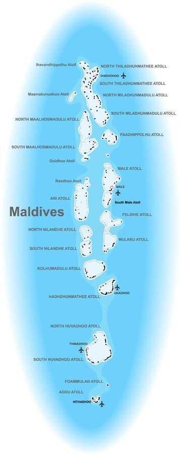 карта Мальдивов иллюстрация вектора