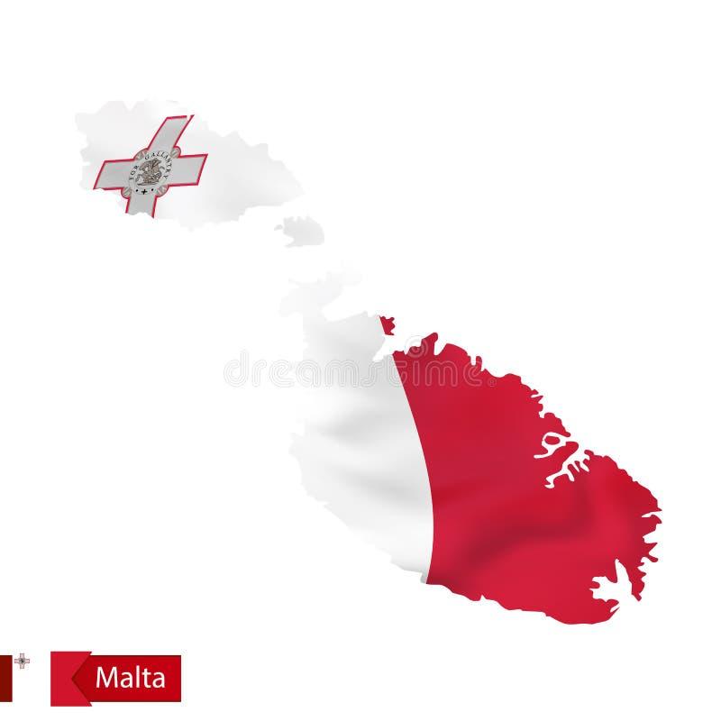 Карта Мальты с развевая флагом Мальты бесплатная иллюстрация