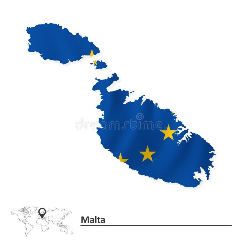 Карта Мальты с флагом Европейского союза иллюстрация штока