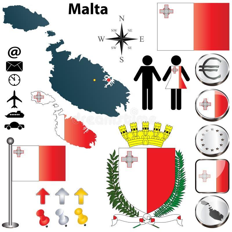 Карта Мальты иллюстрация вектора