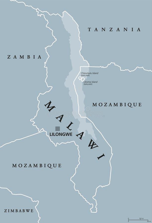 Карта Малави политическая иллюстрация вектора