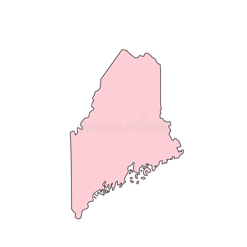 Карта Мейна изолированная на белом силуэте предпосылки Положение Мейна США иллюстрация вектора
