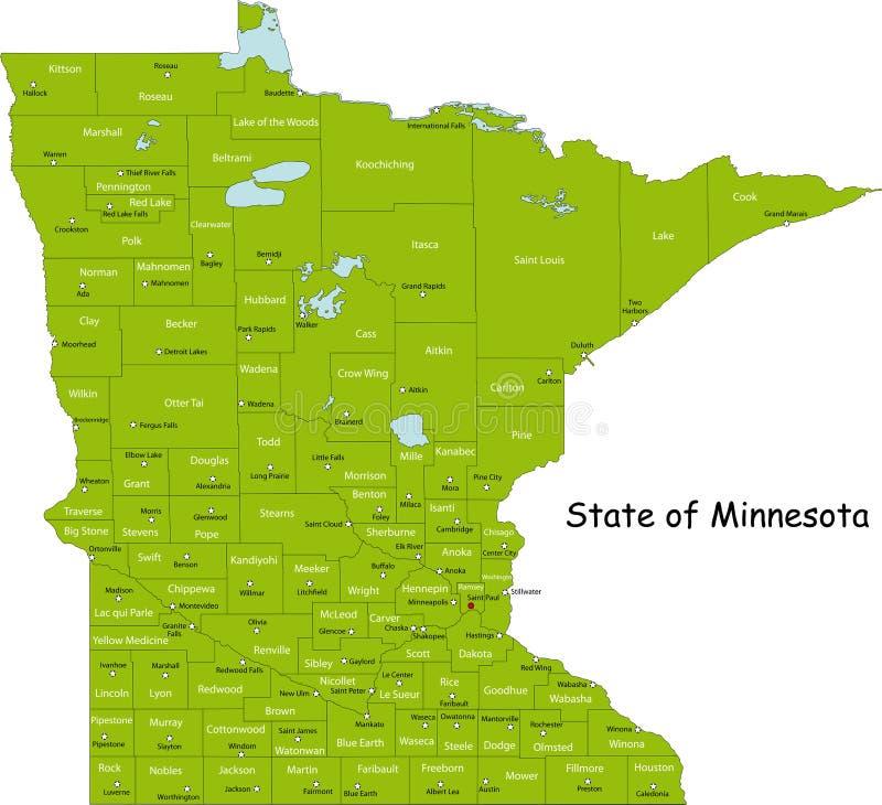 Карта Минесоты иллюстрация вектора