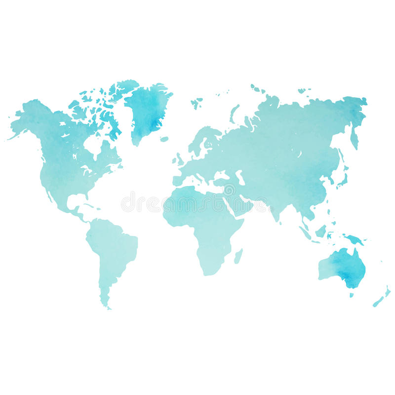 Карта мира акварели в векторе на предпосылке Уайта стоковое фото