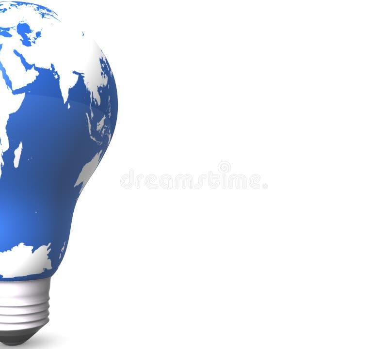 Карта мира, атлас мира в электрической лампочке вольфрама иллюстрация вектора