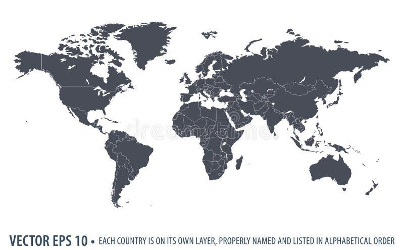 Карта мира вектора политическая иллюстрация вектора