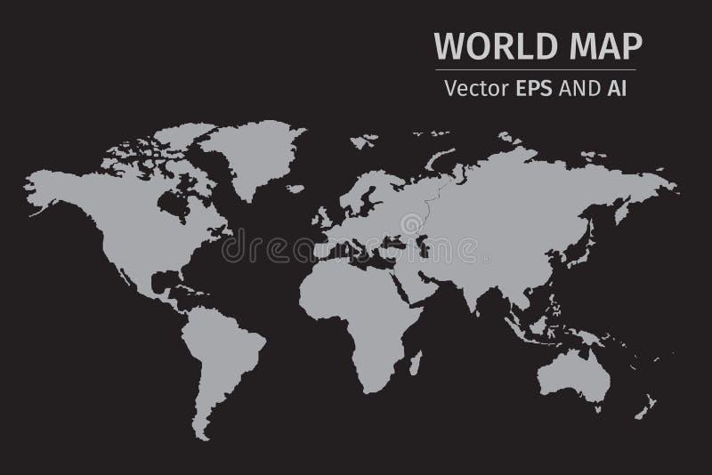 Карта мира вектора серая на черной предпосылке иллюстрация штока