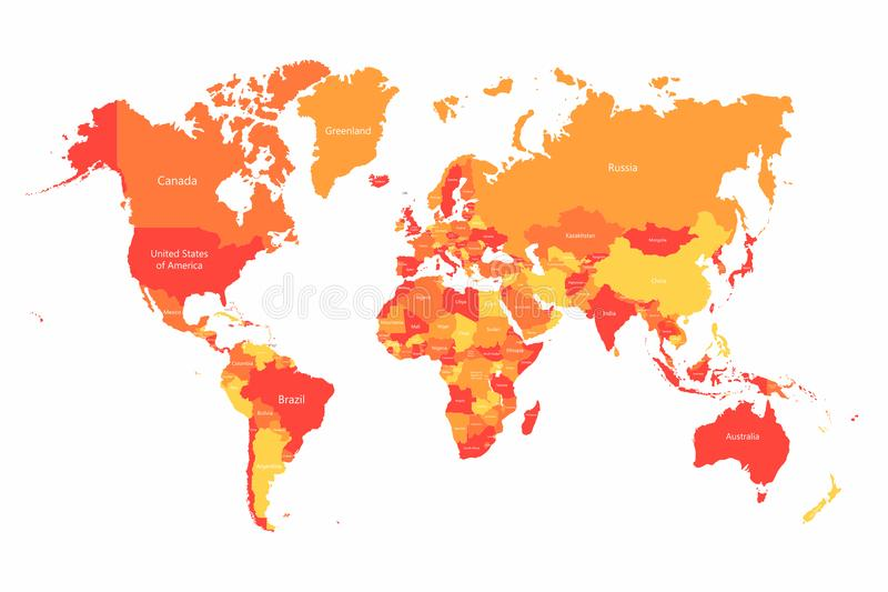 Карта мира вектора с границами стран Абстрактные красные и желтые страны мира на карте иллюстрация штока