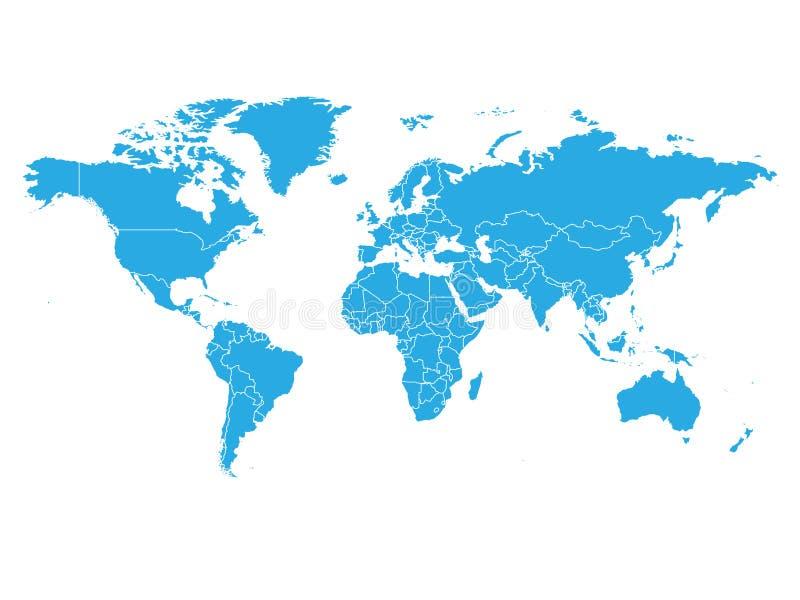 Карта мира в голубом цвете на белой предпосылке Карта высокого пробела детали политическая Иллюстрация вектора с обозначенной сме иллюстрация штока