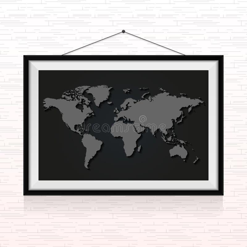 Карта мира в рамке фото повиснула на стене иллюстрация вектора