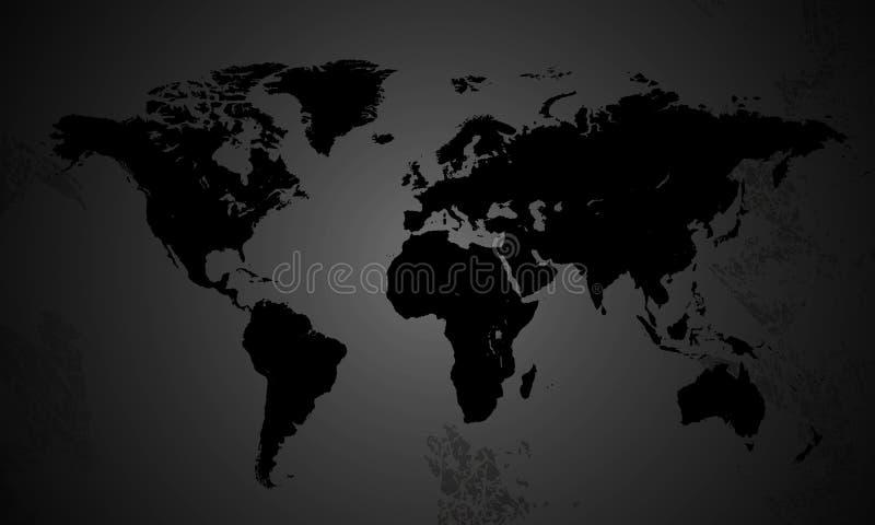 Карта мира в серых тонах иллюстрация вектора