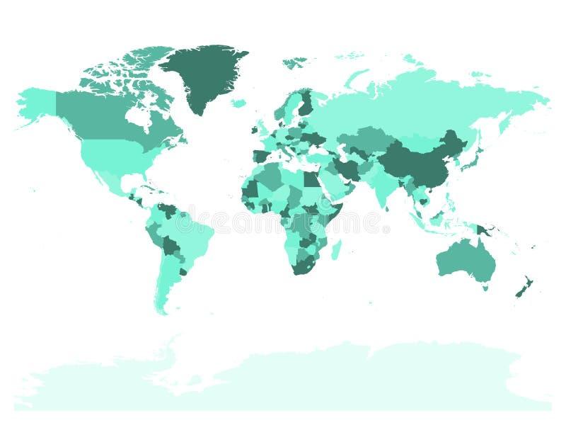 Карта мира в 4 тенях бирюзы на белой предпосылке Карта высокого пробела детали политическая Иллюстрация вектора с бесплатная иллюстрация