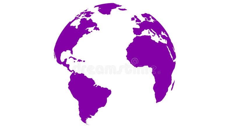 Карта мира глобуса пурпурная на белой предпосылке бесплатная иллюстрация