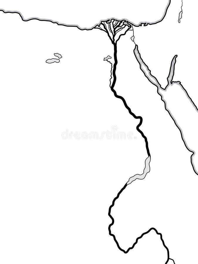 Карта мира ЕГИПТА и ЛИВИИ: Северная Африка, понижает Египет и верхний Египет, Нил & свой перепад Географическая диаграмма иллюстрация штока