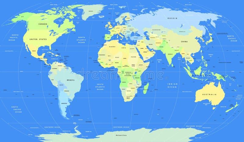 Карта мира детального вектора политическая иллюстрация вектора