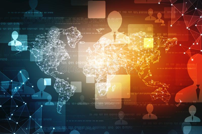 Карта мира и blockchain всматриваются для того чтобы всматриваться сеть, концепция глобальной вычислительной сети иллюстрация штока