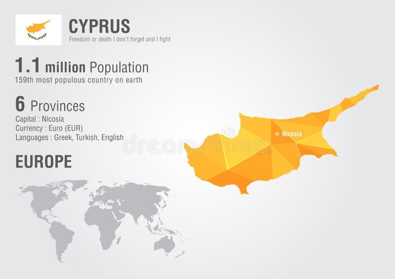 Карта мира Кипра с текстурой диаманта пиксела стоковое изображение rf