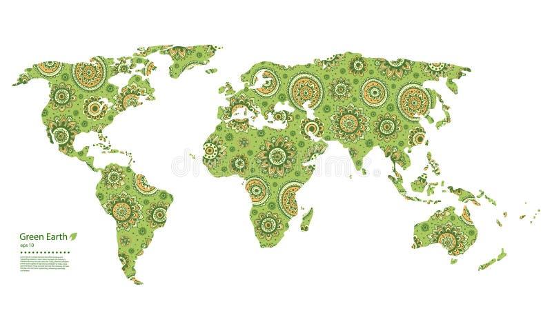 Карта мира красивого вектора флористическая иллюстрация вектора