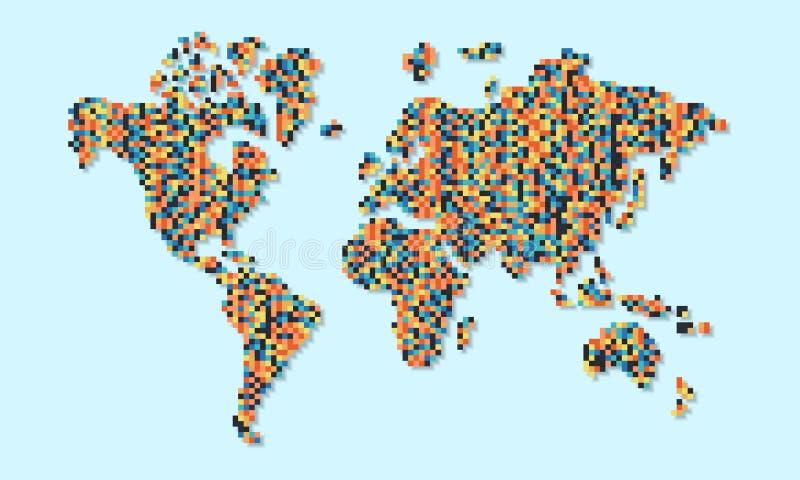 Карта мира красочной абстрактной концепции пикселов иллюстрация вектора