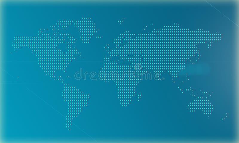 Карта мира на голубой предпосылке сделанной большими пикселами иллюстрация 3d иллюстрация штока