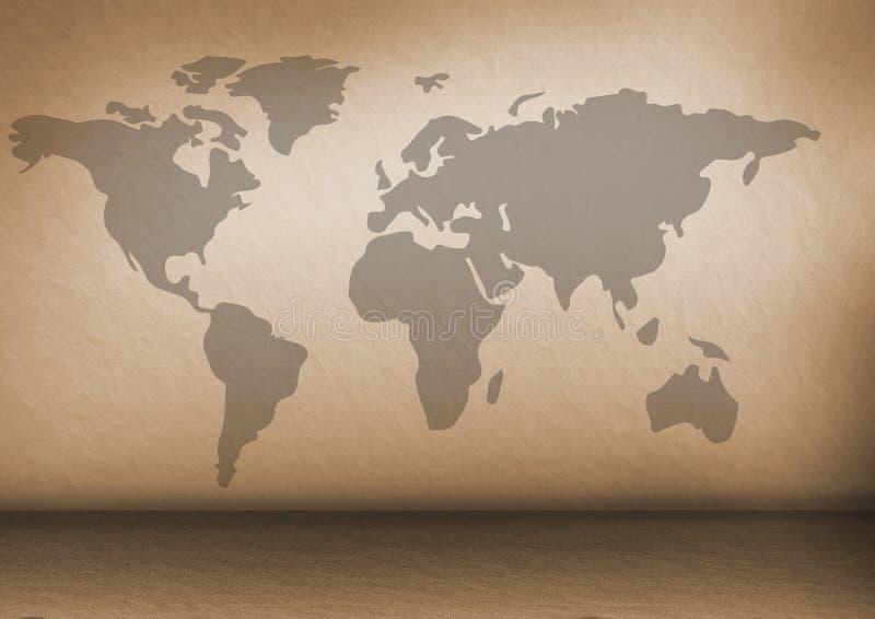 Карта мира на коричневой стене бесплатная иллюстрация