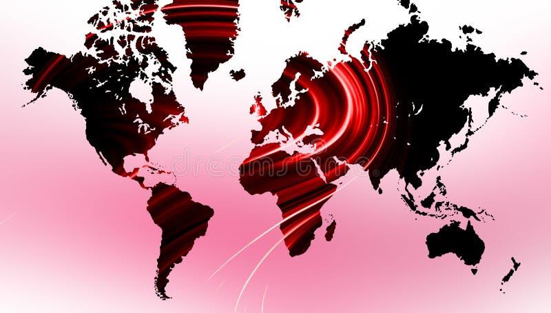 Карта мира на розовой волнистой предпосылке Карта мира на розовой предпосылке иллюстрация штока