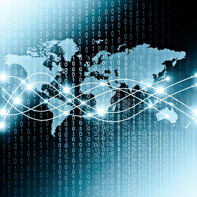 Карта мира на технологической предпосылке, накаляя выравнивает символы интернета, радио, телевидения, черни и спутника иллюстрация вектора