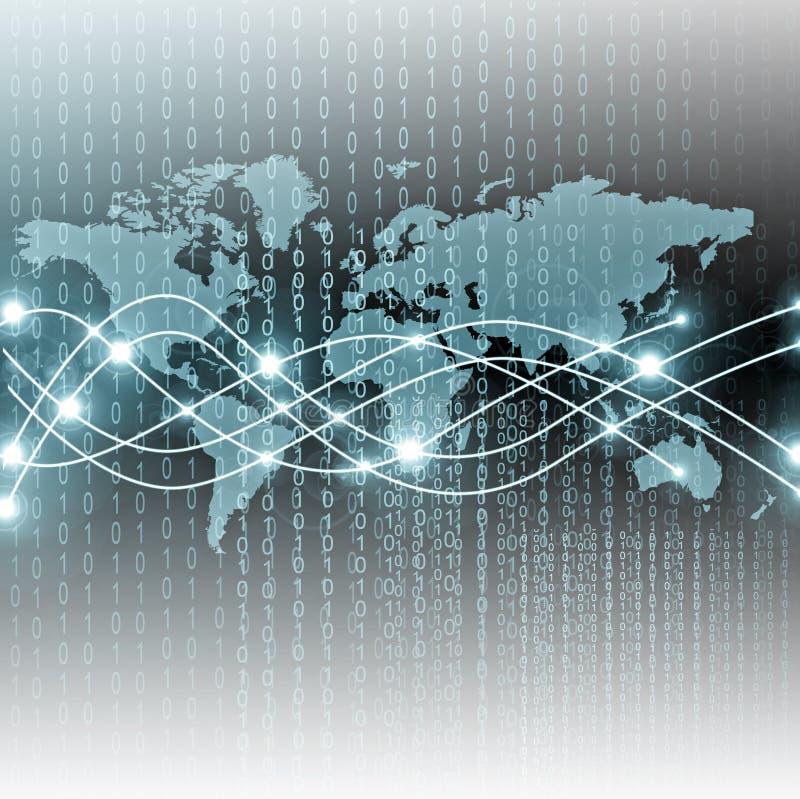 Карта мира на технологической предпосылке, накаляя линии символы интернета, радио, телевидения, мобильный и спутниковый стоковое изображение rf