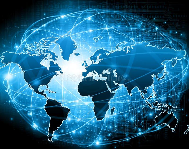 Карта мира на технологической предпосылке, накаляя выравнивает символы интернета, радио, телевидения, черни и спутника иллюстрация штока