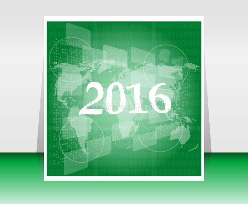 Карта мира на экране касания дела цифровом, счастливой концепции 2016 Нового Года иллюстрация штока