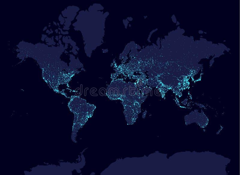 Карта мира ночи с населением бесплатная иллюстрация