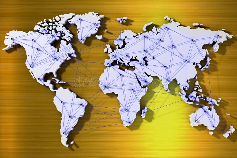 карта мира перевода 3d соединенная сетью лучей иллюстрация вектора