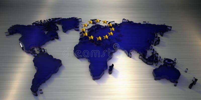 карта мира перевода 3d стекла со звездами Европейского союза иллюстрация штока
