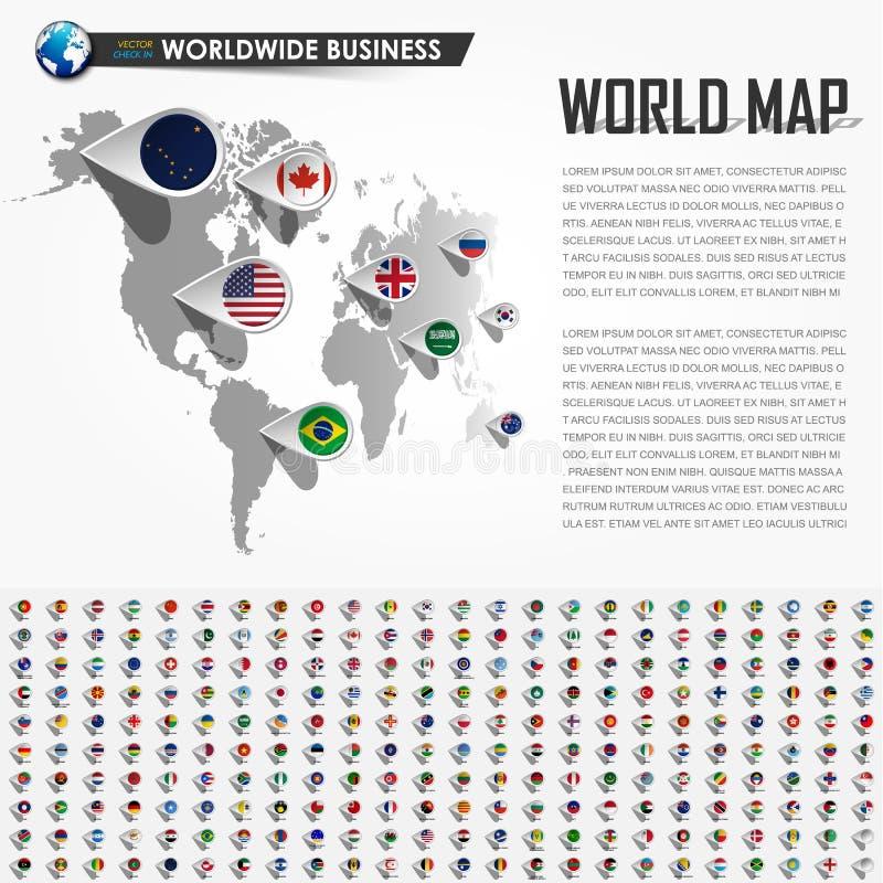 Карта мира перспективы и навигатор GPS штырь положения с всеми национальными элементами флага страны земли вектор иллюстрация штока