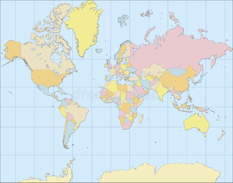 Карта мира политическая иллюстрация вектора