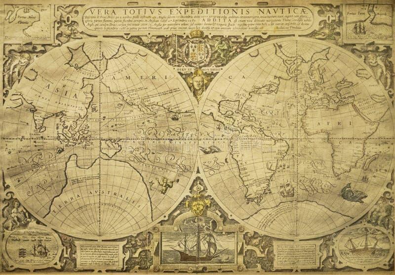 Карта мира сбора винограда иллюстрация вектора