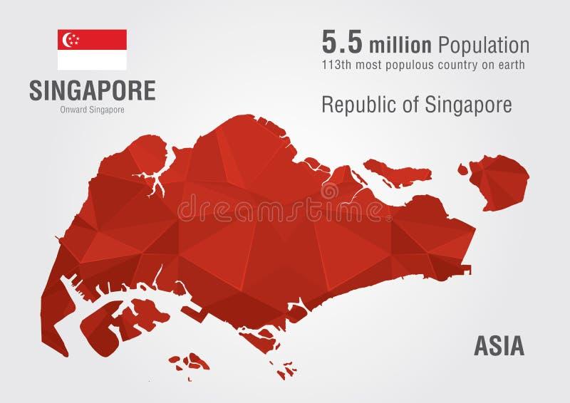 Карта мира Сингапура с текстурой диаманта пиксела иллюстрация вектора