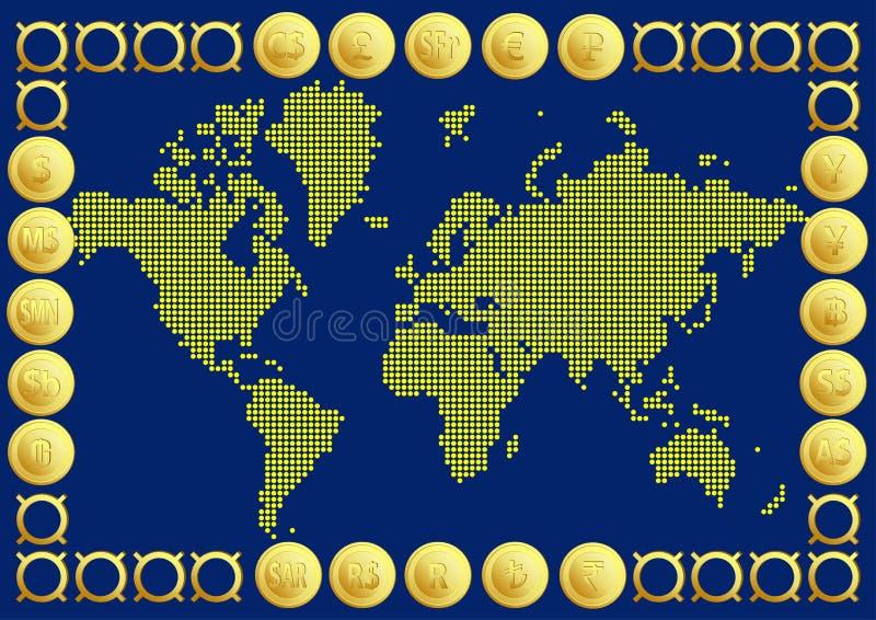 Карта мира с валютой 20 кнопок иллюстрация вектора