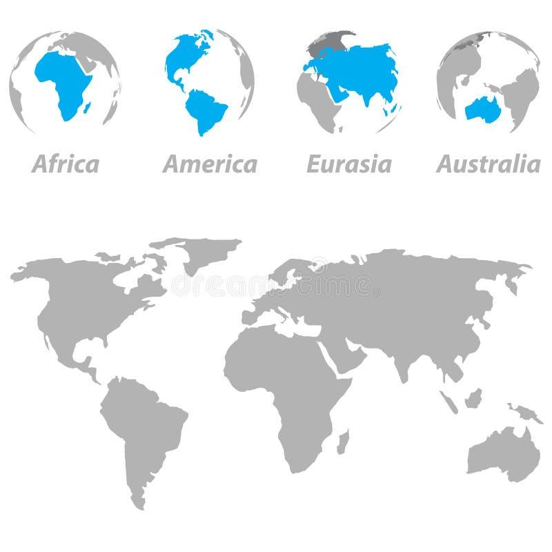 Карта мира с выделенными континентами на глобусе иллюстрация вектора