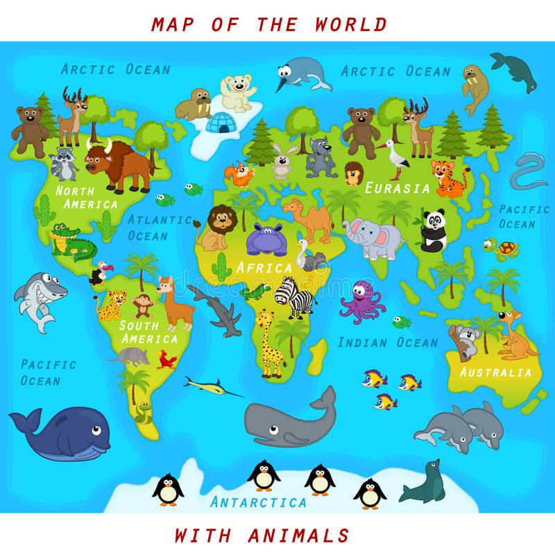 карта мира с животными иллюстрация вектора