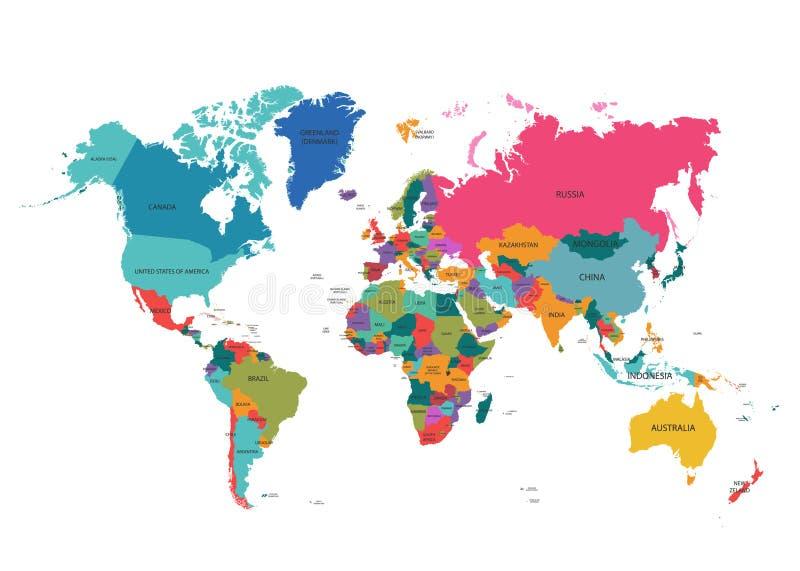 Карта мира с красочным атласом стран Файл вектора EPS10 организованный в слоях для легкий редактировать иллюстрация вектора