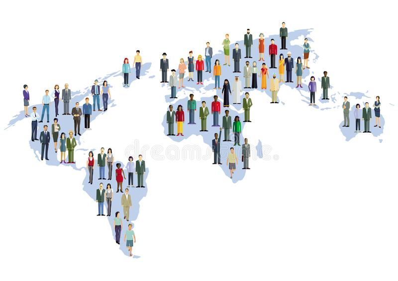 Карта мира с многокультурным населением бесплатная иллюстрация